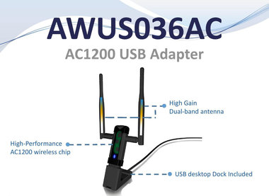 ALFA USB Stick AWUS036AC, Dual-Band AC1200 Wireless USB Adapter